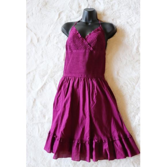 BCBGMaxAzria Dresses & Skirts - BCBG MAXAZRIA | magenta silk ruffle halter dress